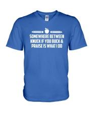 Teacher - Knuck If You Buck V-Neck T-Shirt thumbnail