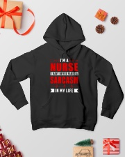 Nurse - I have never faked a sarcasm Hooded Sweatshirt lifestyle-holiday-hoodie-front-2