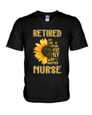 Retired Nurse Happier V-Neck T-Shirt thumbnail