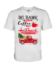 Teacher - Runs on Coffee V-Neck T-Shirt thumbnail