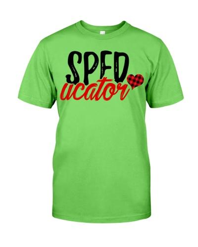 Sped Teacher - Speducator - Red plaid Heart