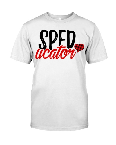 Sped Teacher - Speducator - Red plaid Heart