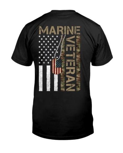 Marine Veteran - American Flag and Dogtag - USMC