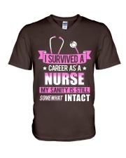 Nurse - Survived V-Neck T-Shirt thumbnail