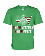 No Veteran No Peace V-Neck T-Shirt thumbnail
