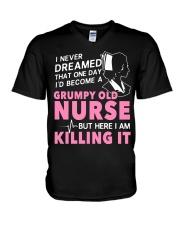 Grumpy Old Nurse V-Neck T-Shirt thumbnail