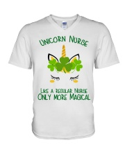 Nurse Unicorn Shamrock V-Neck T-Shirt thumbnail