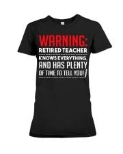 Warning Retired Teacher  Premium Fit Ladies Tee thumbnail