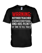 Warning Retired Teacher  V-Neck T-Shirt thumbnail