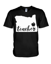 Oregon Teacher - Map V-Neck T-Shirt thumbnail