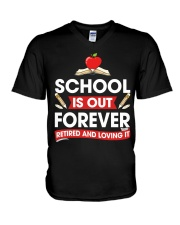 Retired Teacher - School is Out V-Neck T-Shirt thumbnail