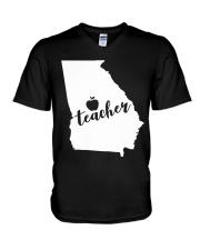 Georgia Teacher - Map V-Neck T-Shirt thumbnail