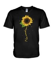 I love sunshine - Sunflower V-Neck T-Shirt thumbnail