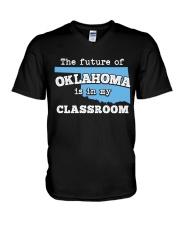 Teacher - The future of Oklahoma  V-Neck T-Shirt thumbnail