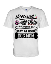 Retired  - Stay at Home Dog Mom V-Neck T-Shirt tile