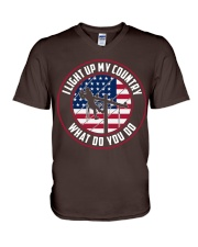 Lineman - I Light up My Country V-Neck T-Shirt thumbnail