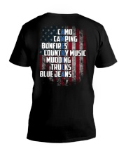 Camping - American Flag V-Neck T-Shirt tile