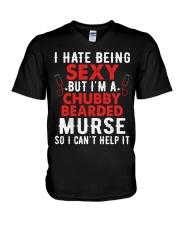 Male Nurse Chubby Bearded V-Neck T-Shirt thumbnail