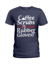 Nurse - Coffee Scrubbs and Rubber Gloves  Ladies T-Shirt tile
