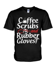 Nurse - Coffee Scrubbs and Rubber Gloves  V-Neck T-Shirt thumbnail