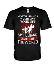 Lineman - Husband Light Up V-Neck T-Shirt thumbnail
