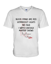 Blood Stains Are Red Ultraviolet Lights Are Blue V-Neck T-Shirt thumbnail