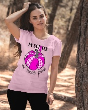 Breast Cancer In October We Wear Pink Pumpkin  Ladies T-Shirt apparel-ladies-t-shirt-lifestyle-06
