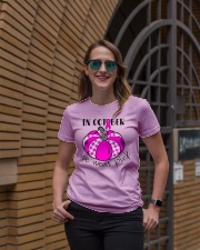 Breast Cancer In October We Wear Pink Pumpkin  Ladies T-Shirt lifestyle-women-crewneck-front-2