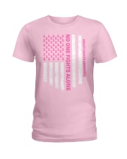 No One Fights Alone USA Flag Breast Cancer  Ladies T-Shirt front