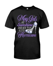 May Girls Are Sunshine Mixed With Hurricane Classic T-Shirt thumbnail