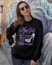 May Girls Are Sunshine Mixed With Hurricane Crewneck Sweatshirt lifestyle-unisex-sweatshirt-front-3