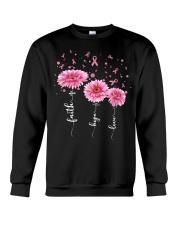Faith Hope Love Pink Daisy Flower Ribbon Crewneck Sweatshirt thumbnail