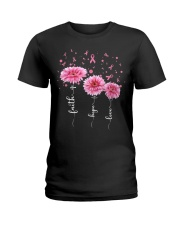Faith Hope Love Pink Daisy Flower Ribbon Ladies T-Shirt front