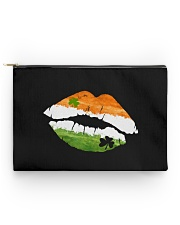 Funny St Patrick's Day Irish Flag Shamrock Lips Accessory Pouch - Standard back