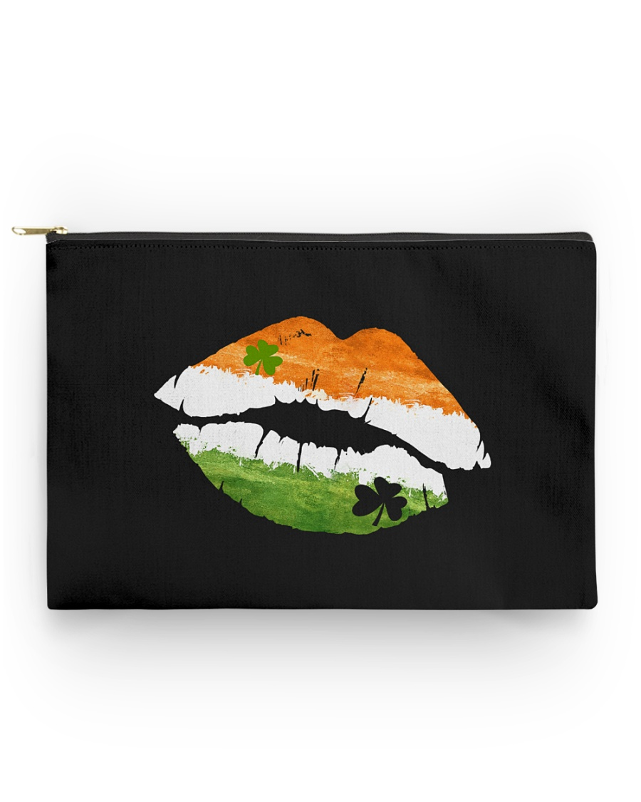 Funny St Patrick's Day Irish Flag Shamrock Lips Accessory Pouch - Standard