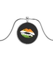 Funny St Patrick's Day Irish Flag Shamrock Lips Metallic Circle Necklace tile