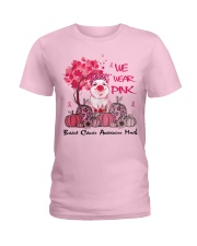We Wear Pink Breast Cancer Awareness Pig Lovers  Ladies T-Shirt front