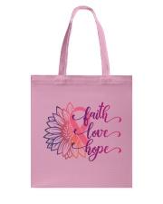 Faith Hope Love Daisy Flower Breast Cancer Tote Bag thumbnail