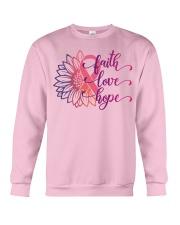 Faith Hope Love Daisy Flower Breast Cancer Crewneck Sweatshirt thumbnail