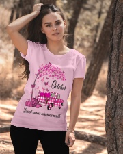 Breast Cancer Awareness October Pink Plaid Truck  Ladies T-Shirt apparel-ladies-t-shirt-lifestyle-06