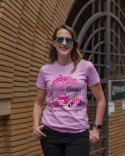 Breast Cancer Awareness October Pink Plaid Truck  Ladies T-Shirt lifestyle-women-crewneck-front-2