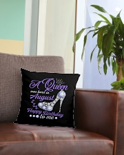 A Queen Was Born In August Happy Birthday  Square Pillowcase aos-pillow-square-front-lifestyle-03