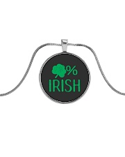 Lucky Irish Green Shamrock St Patrick's Day  Metallic Circle Necklace thumbnail