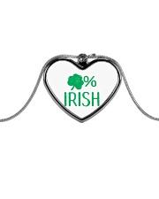 Lucky Irish Green Shamrock St Patrick's Day  Metallic Heart Necklace thumbnail