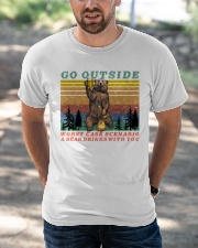 Go Outside A Bear Drinks With You Funny Beer Gift  Classic T-Shirt apparel-classic-tshirt-lifestyle-front-50
