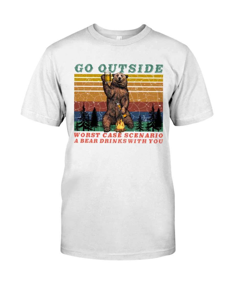 Go Outside A Bear Drinks With You Funny Beer Gift  Classic T-Shirt