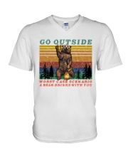 Go Outside A Bear Drinks With You Funny Beer Gift  V-Neck T-Shirt thumbnail