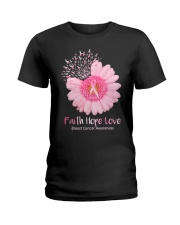 Faith Hope Love Breast Cancer Pink Daisy Flower Ladies T-Shirt front