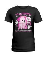 In October Even Ghosts Wear Boo Halloween Breast  Ladies T-Shirt front