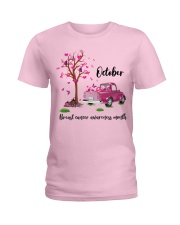 Pumpkin Pink Truck October Breast Cancer Awareness Ladies T-Shirt front